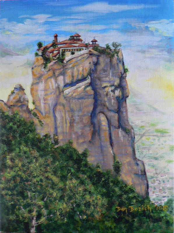 Monastery Poster featuring the painting Monastery of Aghia Triada by Dan Bozich