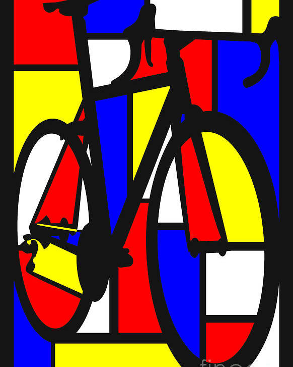 Bicycle Poster featuring the painting Mondrianesque Road bike by Sassan Filsoof