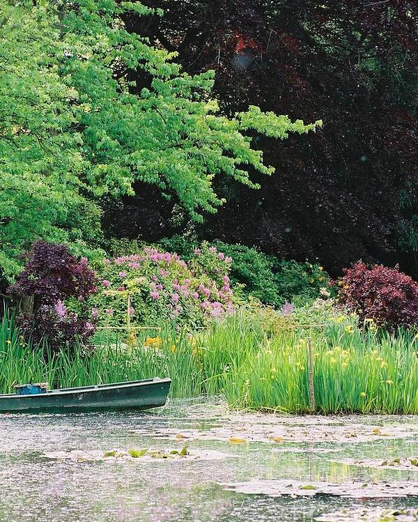 Monet Poster featuring the photograph Monet's Garden Pond And Boat by Nadine Rippelmeyer