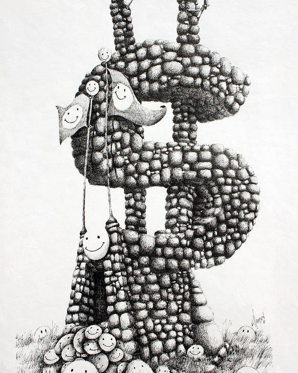 Money Fine Art Print Poster featuring the drawing Money Monument by James Williamson