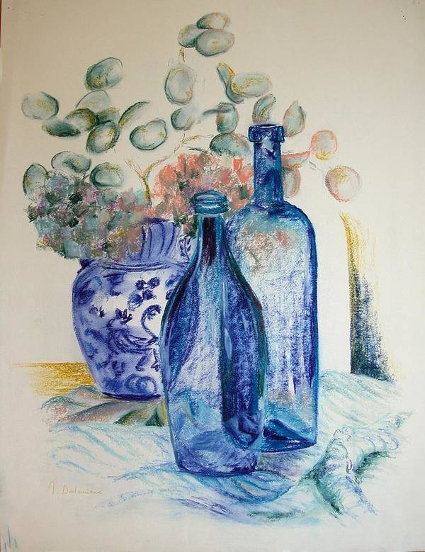 Still Life Poster featuring the drawing Monnaie Bleue by Muriel Dolemieux