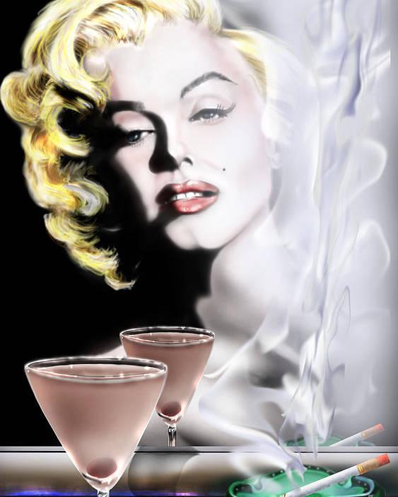 Marilyn Monroe Poster featuring the painting Monroe-seeing Beyond Smoke-n-mirrors by Reggie Duffie