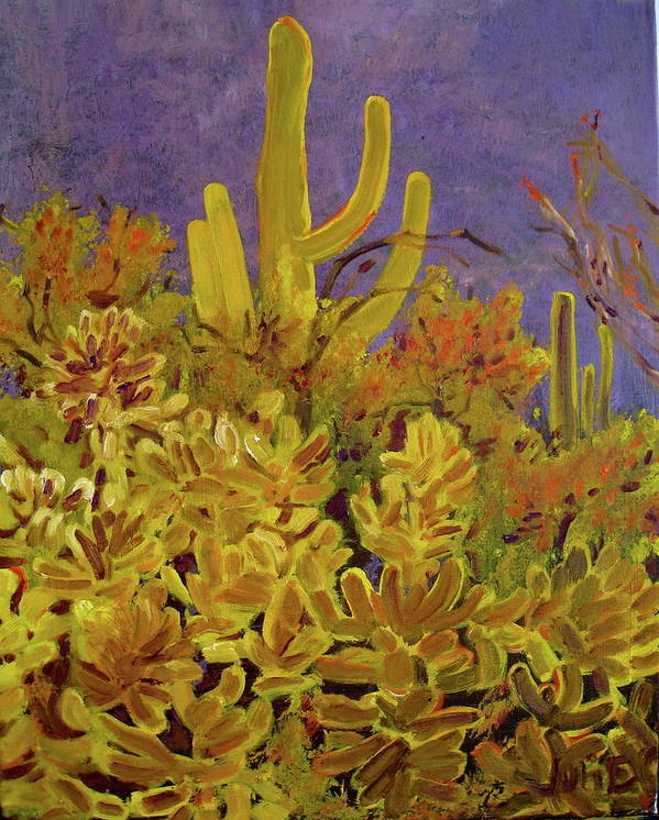 Desert Poster featuring the painting Monsoon Glow by Julie Todd-Cundiff
