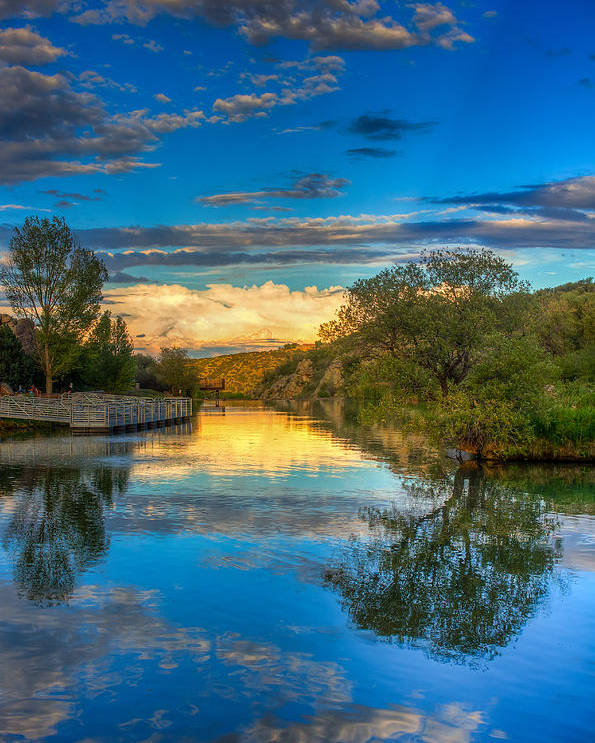 Yavapai County Poster featuring the photograph Monsoon Lake Rays by Aaron Burrows