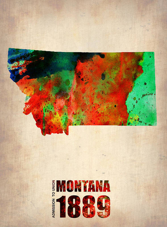 Montana Poster featuring the mixed media Montana Watercolor Map by Naxart Studio