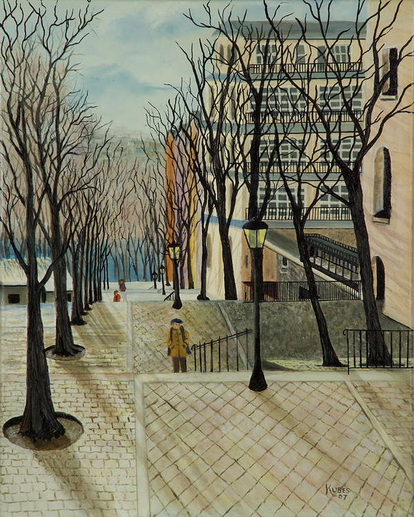 Paris Poster featuring the painting Montmartre Steps In Paris by Susan Kubes