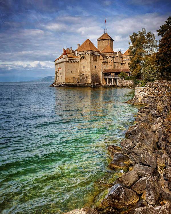 Chateau de Chillon Montreux Switzerland NEW POSTER Travel European Castle