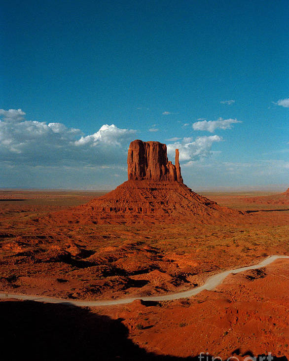 Landscape National Park Blue Sky Red Rock Cloud Poster featuring the photograph Monument Park by Ty Lee