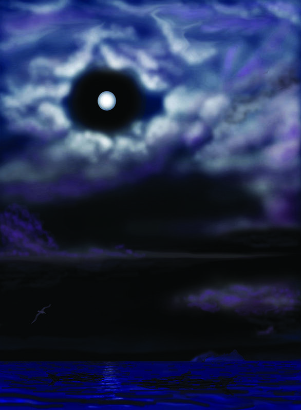 Ocean Poster featuring the digital art Moon Clouds And Sea by Larry Ryan