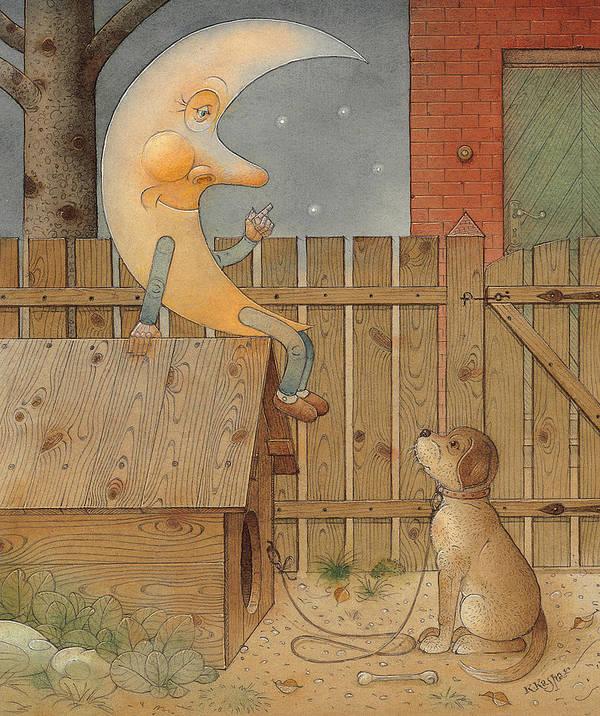 Moon Night Dark Dog Poster featuring the painting Moon by Kestutis Kasparavicius