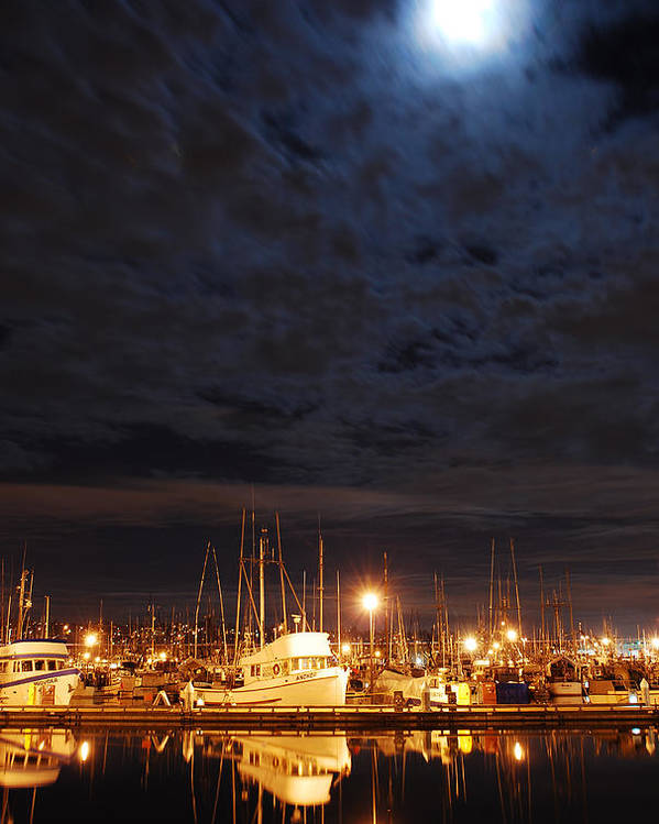 Fishing Poster featuring the photograph Moon Over Fishermans Terminal by Alasdair Turner