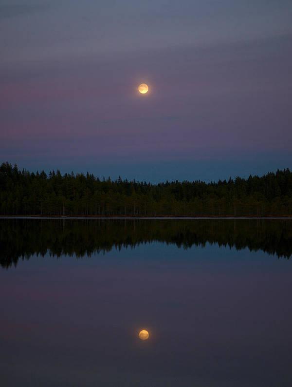 Lehtokukka Poster featuring the photograph Moon Over Kirkas-soljanen 2 by Jouko Lehto