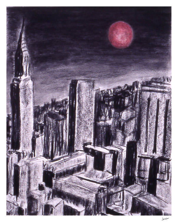 Night Sky Poster featuring the drawing Moon Over Manhattan by Gary Jameson