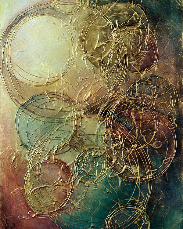 Textured Poster featuring the painting Moon Thread by Michael Lang