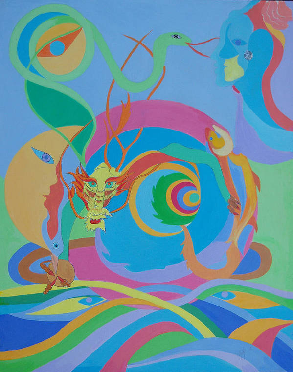 Acrylic Poster featuring the painting Moonbird In A Dragon Spiral by Seema Gill