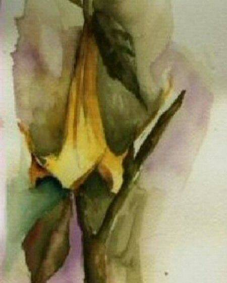 Floral Poster featuring the painting Moonflower 2 by Donna Elio