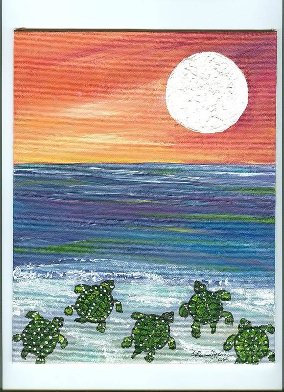 Turtles Poster featuring the painting Moonlight Birthday Swim. by Laura Johnson