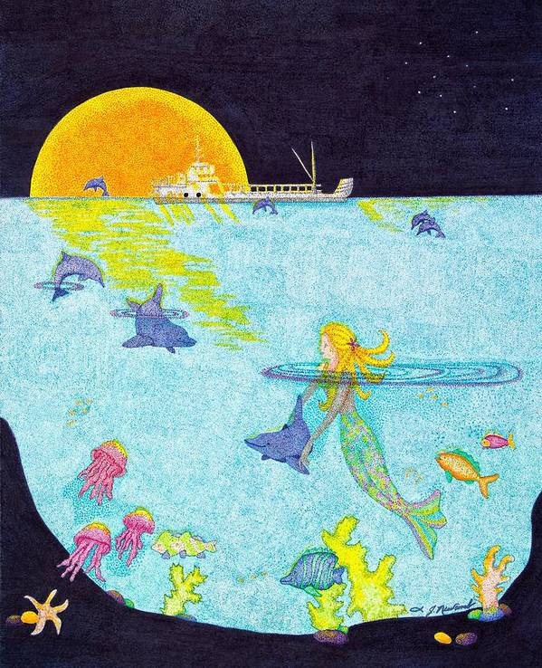Mermaid Poster featuring the drawing Moonlight Crossing 2 by Judy Cheryl Newcomb