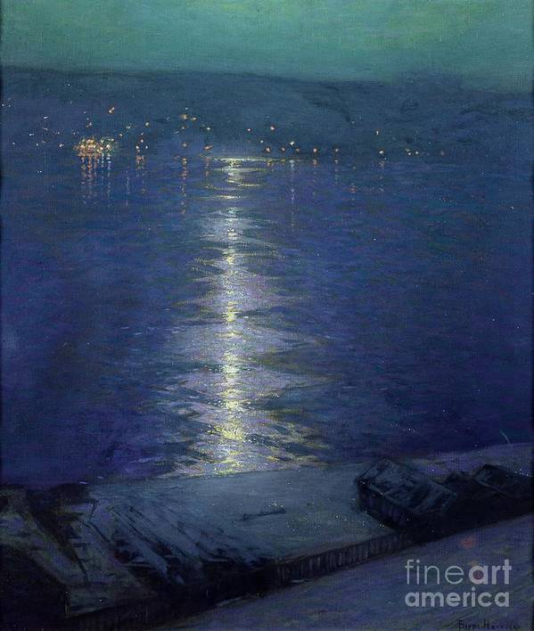 Moonlight On The River Poster featuring the painting Moonlight On The River by Lowell Birge Harrison