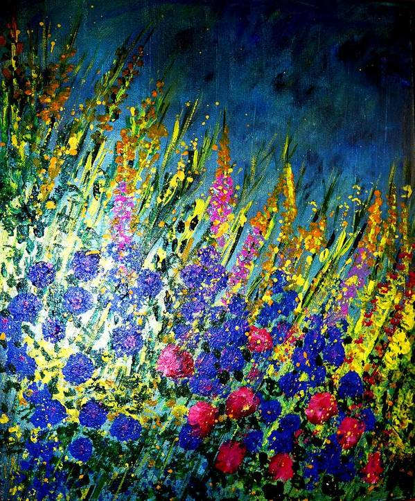 Flower Painting Poster featuring the painting Moonlight Paradise by Piety Dsilva