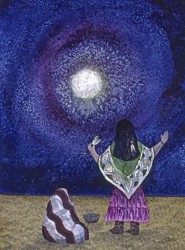 Moon Poster featuring the painting Moonlight Prayer by Lynda Hoffman-Snodgrass