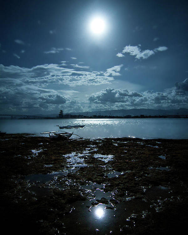 Vertical Poster featuring the photograph Moonlight by Rodell Ibona Basalo