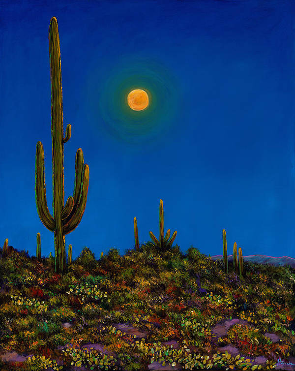 Arizona Poster featuring the painting Moonlight Serenade by Johnathan Harris