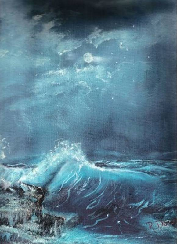 Water Sea Moon Surf Seascape Moonlight Lake Ocean Poster featuring the painting Moonlight Surf by Raymond Doward