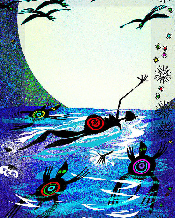 Land Of Ammaze Poster featuring the painting Moonlight Swim by Angela Treat Lyon