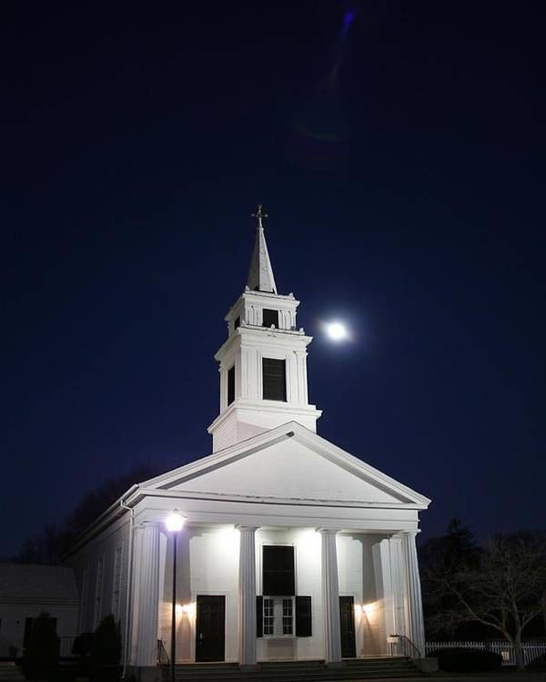 Church Poster featuring the photograph Moonlit Church by Jeff Porter