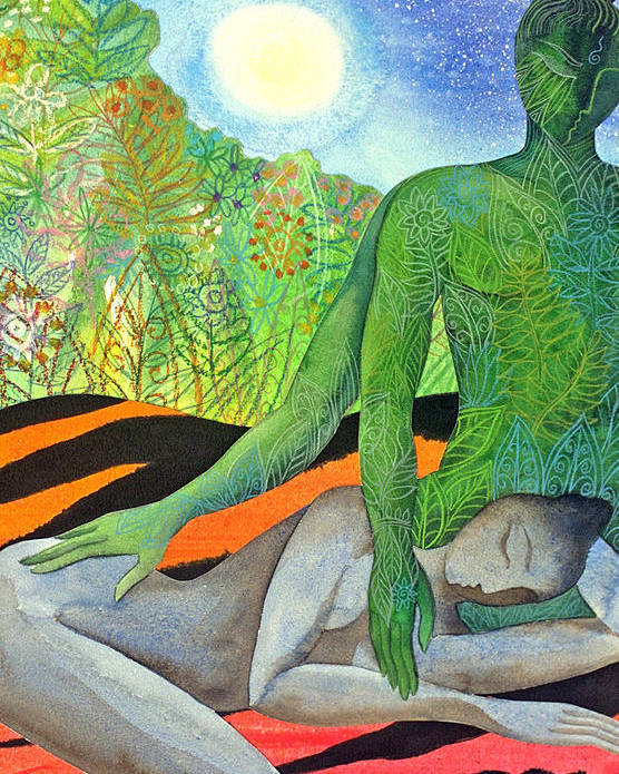 Moon Jungle Forestspirit Magical Mysterious Tropical Poster featuring the painting Moonrise by Jennifer Baird