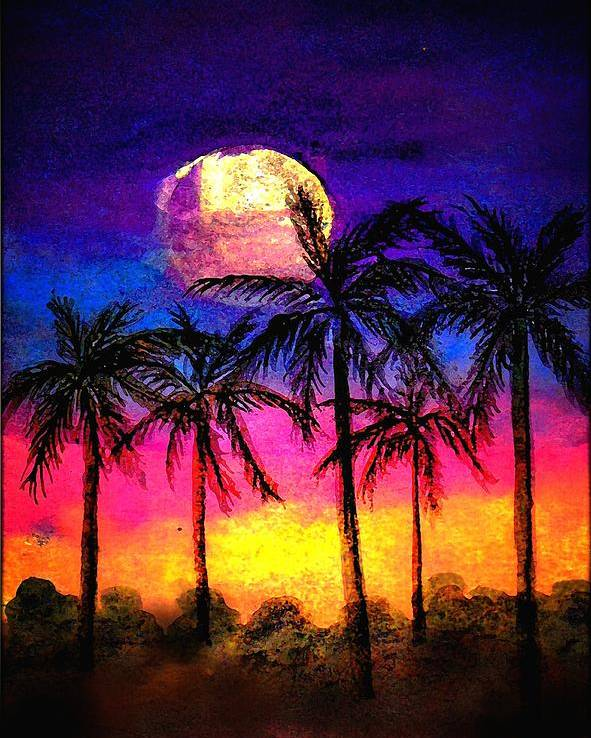 Silhouette Poster featuring the painting Moonrise Over The Tropics by Dina Sierra