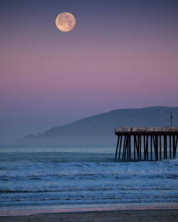 Vertical Poster featuring the photograph Moonset At Pismo Beach by Mimi Ditchie Photography