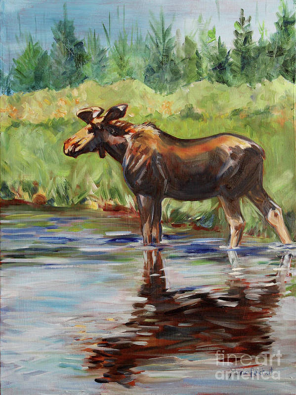 Moose Poster featuring the painting Moose At Henry's Fork by Maria Reichert