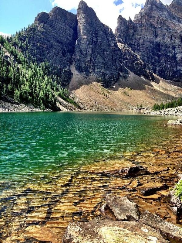 Landscape Poster featuring the photograph Moraine Lake by Kim Grosz