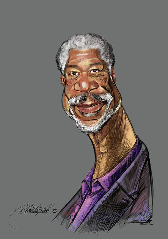 Digital Drawing Poster featuring the digital art Morgan Freeman by Mentor Berisha