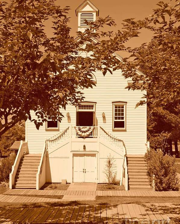 Sepia Poster featuring the photograph Mormon Pine Valley Meeting House by Dennis Hammer