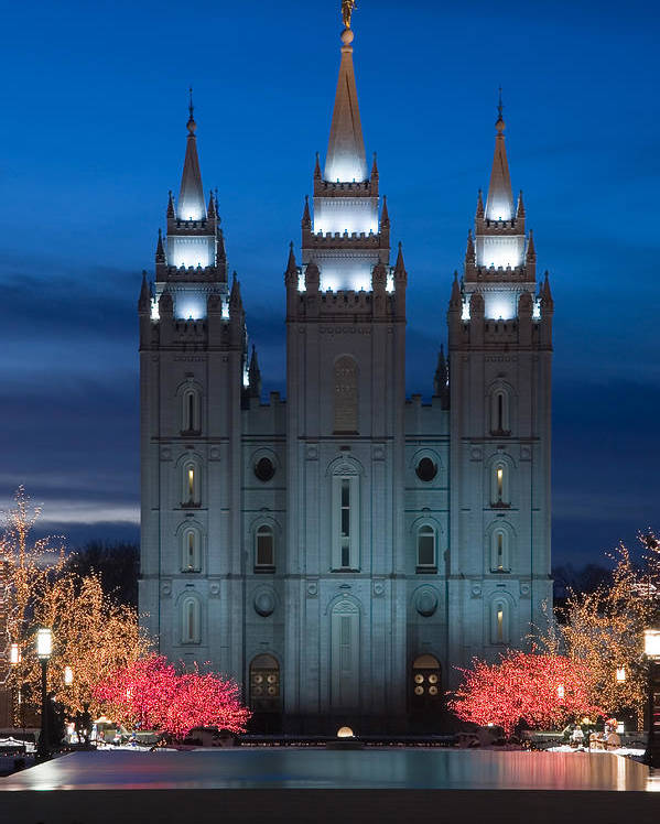 Christmas Poster featuring the photograph Mormon Temple Christmas Lights by Utah Images