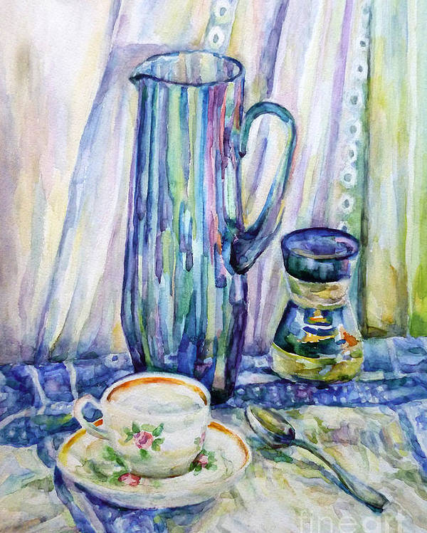 Morning Coffee Poster featuring the painting Morning Coffee. by Liliya Chernaya