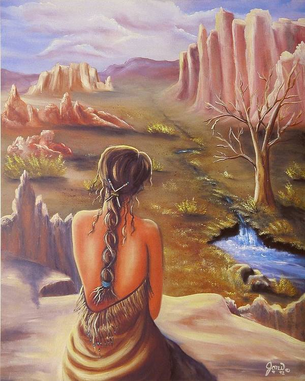 Native American Poster featuring the painting Morning Glory by Joni McPherson