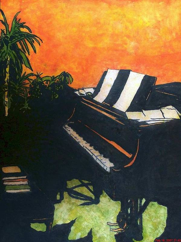 Piano Poster featuring the painting Morning Glory by Shane Hurd