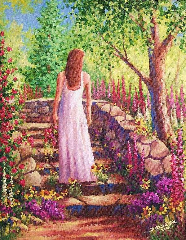 Woman Poster featuring the painting Morning In Her Garden by David G Paul