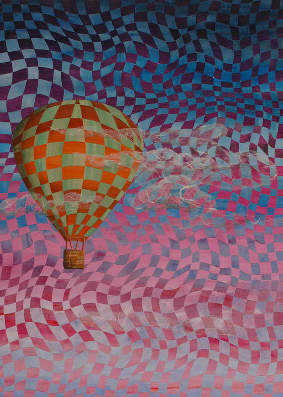 Hot Air Balloon Poster featuring the painting Morning Ride by Linda L Doucette