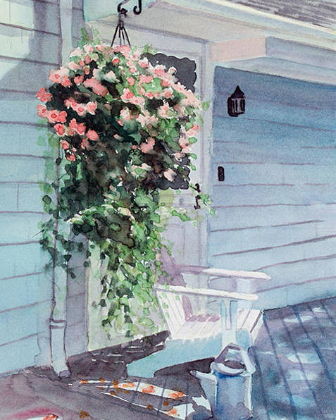 Flowers Watercolor Poster featuring the painting Morning Shadows by Laura Lee Zanghetti