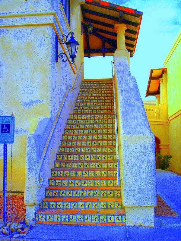 Stairway Poster featuring the photograph Moroccan Staircase by Lessandra Grimley