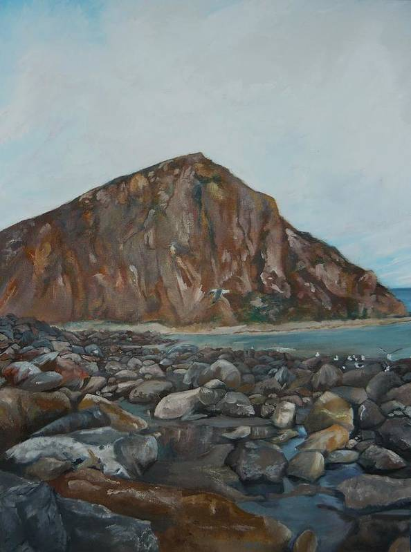 Morro Bay Poster featuring the painting Morro Rock by Travis Day