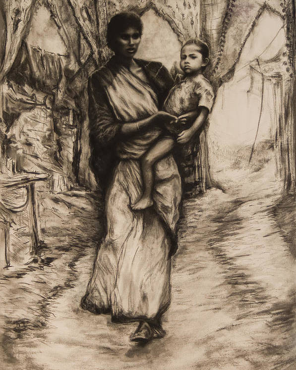 India Mother Child Relationship Caring Bond Anxious Surreal Madonna Poster featuring the drawing Mother And Child by Tim Thorpe