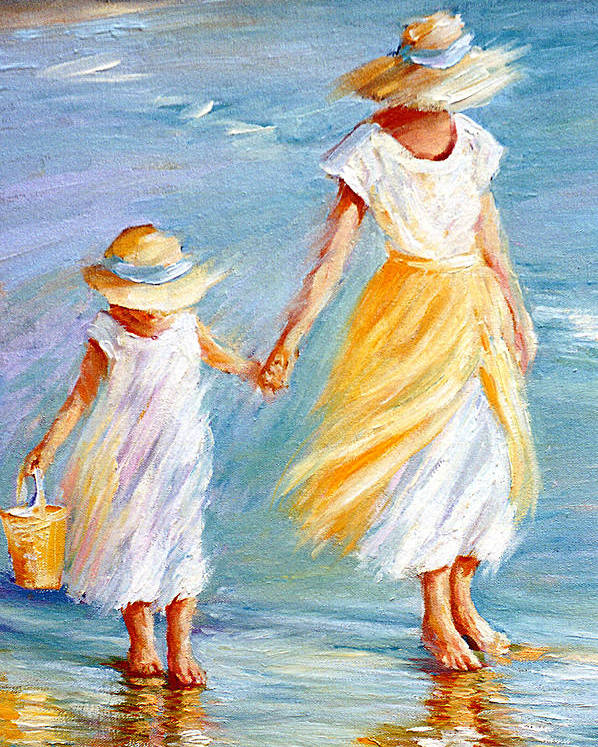 Mother And Daughter Poster featuring the painting Mother And Daughter by September McGee