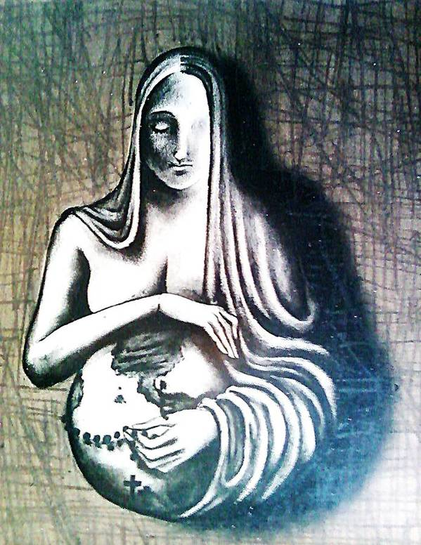 Sacred Feminine Poster featuring the digital art Mother Earth by Paulo Zerbato
