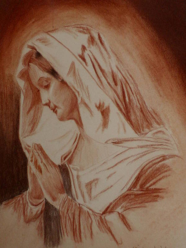 Religious Art Poster featuring the pastel Mother Mary by Mike Hinojosa